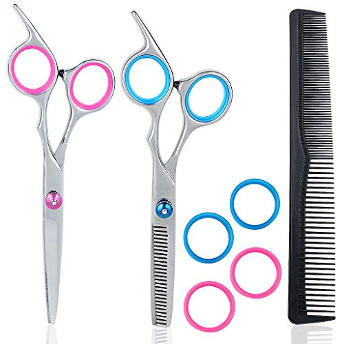 Professional Hair Thinning Scissor and Hairdressing Scissor Set with Adjusting Screw and Rubber Finger Inserts Stainless Steel Barber Hair Scissor Hair Cutting Shears Including 1 Comb and 4 Additional