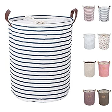 DOKEHOM DKA0814BL 17.7  Large Laundry Basket (Available 17.7  and 19.7 ), Drawstring Waterproof Round Cotton Linen Collapsible Storage Basket (Blue Strips, M)