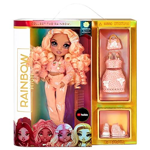 Rainbow High Moda Georgia Bloom-Giocattolo da Collezione per Bambini-con 2 Vestiti Mix & Match e Accessori per Bambole-Ottimo Regalo-età: 6-12 Anni-Pesca (Arancione Chiaro), 575740C3