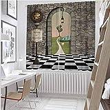 Toopeek Alicia en el país de las maravillas cortina opaca bienvenida país de las maravillas blanco y negro paisaje de suelo de seta farol 2 paneles de ancho 100 x largo 84 pulgadas, multicolor
