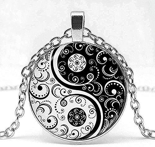 YOUZYHG co.,ltd Collar Collar de Hombre Collar de Yin Yang Forma de Tai chi cúpula de Vidrio en Blanco y Negro Colgante de PO Logotipo de taoísmo Chino Viejo chisme.