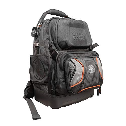 Klein Tools 55485 Tool Bag Backpack, Durable Electrician Backpack with 48 Pockets for Hand Tools, Waterproof Bottom, Removable Tool Carrier, Black with Orange/Gray, 19.5-Inch