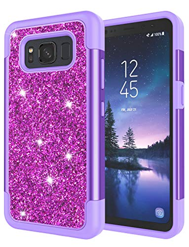 Galaxy S8 Active Case, S8 Active Case for Grils, Jeylly Glitter Luxury Crystal Dual Layer Shockproof Hard PC Soft TPU Inner Protector Case Cover for Samsung Galaxy S8 Active Sprint - Purple