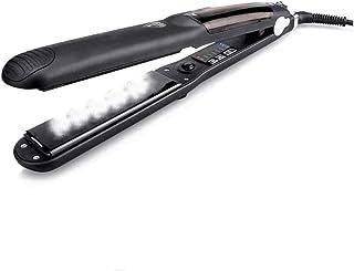 Travel Straightener Professional Hair Steam Straightener Ceramic Flat Iron Vapor Oil Straightening Curling Iron for Women Steamer Iron - Black.