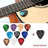 XuBa - Set di 10 plettri per chitarra e plettro per chitarra acustica, chitarra elettrica, basso U-k-u-l-e-l-e-l-e Stick-on (colori casuali)