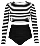 COCOSHIP Black & White Striped Women's Multi-Purpose Long Sleeve Swim Shirt Rash Guard Top Tankinis High Waist Bathing Swimsuit 8