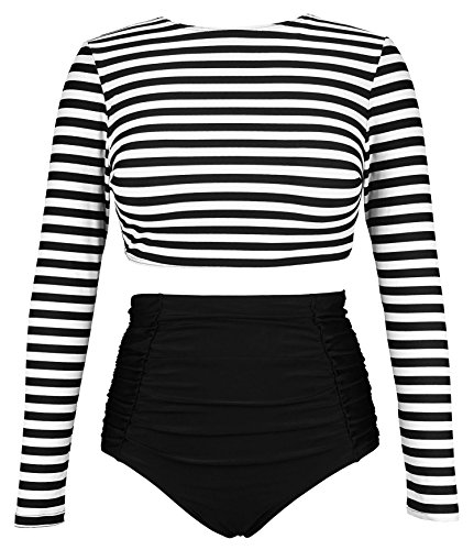 COCOSHIP Black & White Striped Women's Multi-Purpose Long Sleeve Swim Shirt Rash Guard Top Tankinis High Waist Bathing Swimsuit 6