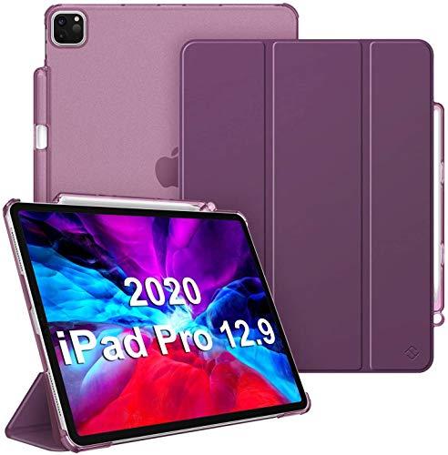 Fintie iPad Pro 12.9 ケース 2020/2018 12.9インチ 半透明バックカバー Apple Pencil 収納可能 Apple Pencil 2 ワイヤレス充電対応 三つ折スタンド スリープ機能 軽量 薄型 傷つけ防止 PUレザー (モデル番号A2229、A2069、A2232、A2233)(パープル)