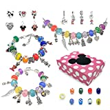 DIY Charm Bracelets Kit for Girls, Jewelry Making Kit with Mickey Mouse Bracelet Beads Fit Pandora Charm Bracelet , Jewelry Charms,Bracelets for Jewelry Making and DIY Crafts with Pink Gift Box