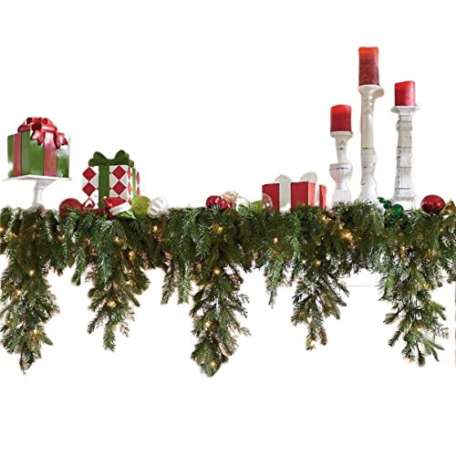 Cascading Garland 6' Lighted Corded Christmas Greenery Fireplace Swag