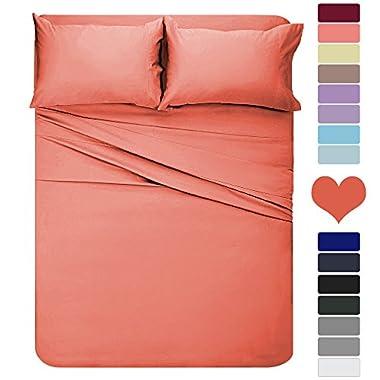 HOMEIDEAS 4 Piece Bed Sheet Set (Queen, Orange) 100% Brushed Microfiber 1800 Bedding Sheets - 16-Inch Deep Pockets, Hypoallergenic, Wrinkle & Fade Resistant
