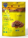 AZNUT Dried Turkish Dark Apricots, NON-GMO Certified, Premium Quality, 100% Natural, Gluten-Free, Kosher, Resealable Bag, Snack&Joy, 1 LB