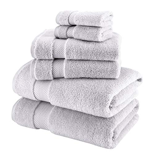 Towels Beyond 6 Piece Bath Towel Set - Luxury Plush Quality Hotel and Spa Towels Made with 100% Turkish Cotton (Platinum)