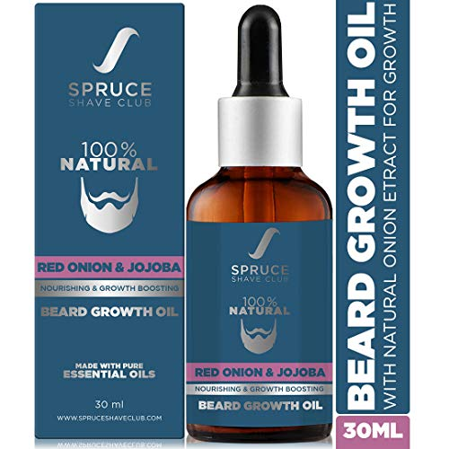 Spruce Shave Club Advanced Beard Growth Oil | With Onion Oil, Jojoba & 8 Essential Oils | 100% Natural