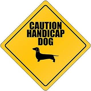 Caution Handicap Dog Dachshund - Dogs - Crossing Sign Aluminum Metal