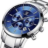 腕時計 メンズ腕時計 ファッション カジュアル ビジネス 多機能 クロノグラフ ステンレス鋼 防水 日付表示 ブルー シルバー アナログ クォーツ時計
