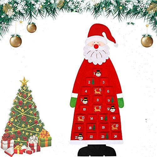 HIQE-FL Filz Nikolaus Adventskalender,Adventskalender Santa,Weihnachtskalender DIY,Weihnachtsmann Adventskalender,Adventskalender zum Befüllen Kinder,Stoff-Adventskalender (rot)