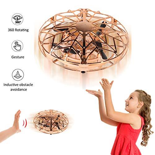 YORKOO Regalos para 5-8 años Chicas Mini Drone Juguetes Voladores Niños Control Manual Bola Voladora UFO Quadricoptère Helicóptero RC Juegos Infantiles