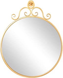 WYXIAN Mirror Wall-Mounted Floating Bathroom High Definition Metal Framed Rustic Makeup Circular Simple, 3 Sizes (Color : Gold, Size : 40CM)