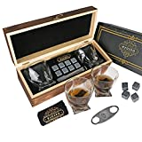 Eyozka Whiskey Glass Set Gift Box - C. Cutter and Whiskey Stones Included - Chilling Stones Gift Set - Scotch Bourbon Glasses Bar Accessories - Reusable Ice Cubes - Unique Gifts for Men