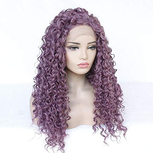 WJGSS Sexy Perruques de cheveux bouclés longs petits cheveux ondulés violets pourpres à la mode front lace perruques,Naturel Cheveux synthétiques côté