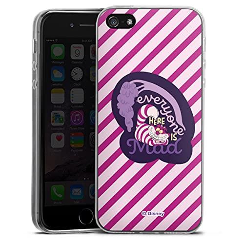 Custodia sottilissima Compatibile con Apple iPhone 5 Custodia per Cellulare di Silicone Trasparente Cover Semplice Disney Alice nel Paese delle Meraviglie Stregatto