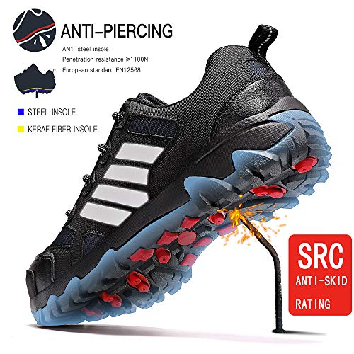 Zapatos de Seguridad,Punta de Acero Zapatos Ligero Zapatos de Trabajo Respirable Construcción Zapatos Reflexivo Botas de Seguridad(B Negro,42 EU)