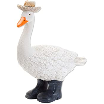 Bits and Pieces - Goose in Boots Garden Sculpture - Decorative Yard Art Accent for Outdoors Lawn and Patio Décor, Backyard Sculpture, and Decoration