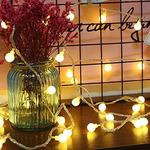 Globe Lumière Chaîne, 6 mètres 40 LED Fairy Lights Ball USB alimenté Fairy Lights Ball blanc chaud pour Noël, mariage, fête, la maison ainsi que jardin, balcon, patio, fenêtres, escaliers