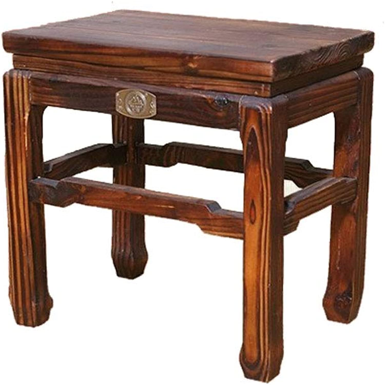 Retro Household Thick Four-Legged Wooden Bench for Dressing Table Change shoes Brown (Size   28  18  23cm)