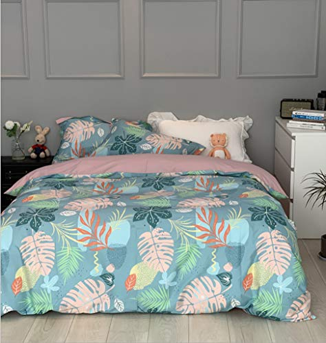 DUIPENGFEI Combed Duvet Cover Set, Soft Cotton, Duvet Cover And 2 Pillowcases, Dragon Fruit Pattern, Suitable For 1.5-1.8m Bed