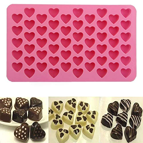 YOUYO 55 Grids Muni Heart Shaped Ice Maker,Heart Ice Cube Trays Silicone Mold,Heart Shape Silicone Molds,Heart Mold for Cake Baking Chocolate