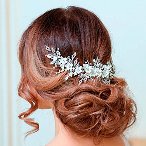 Handcess Diadema de novia de flores con perlas de cristal de plata para novia, accesorios para el cabello de novia y damas de honor (plata)