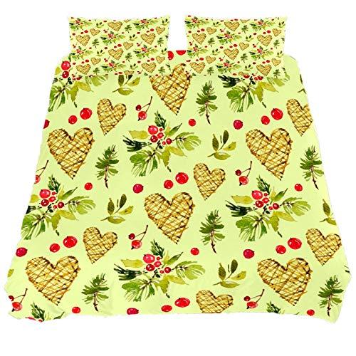 818 FUMIKV-Soft Microfiber Duvet Cover Sets 3 Pieces (2 Pillowcase,1 Duvet Cover) Christmas Pattern Heart Decorative Bedroom Double