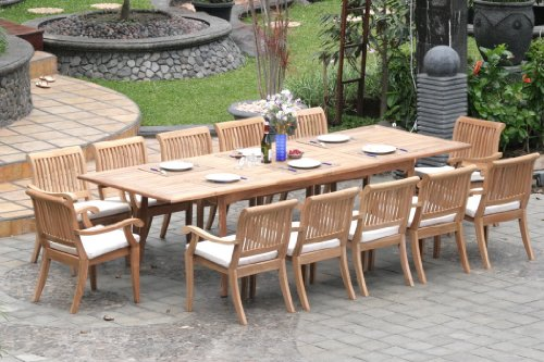 "Big Sale Grade-A Teak Wood Luxurious Dining Set Collections: 13 Pc -Large 117"" Rectangle Table and 12 Arbor Stacking Arm Chairs"