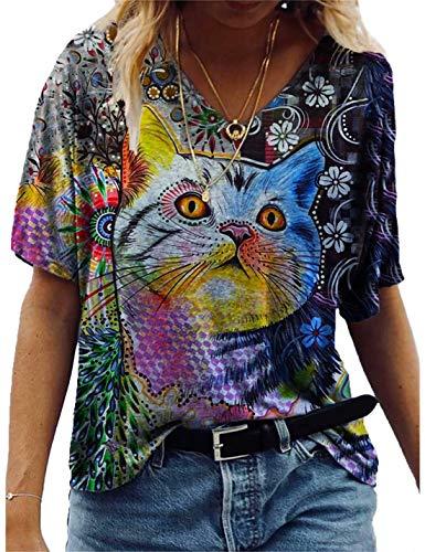Oberteile Damen Sommer Locker, Teenager Mädchen Lustig Bunt Esel Schmetterling Katze Tier Tie-Dye Galaxy T-Shirts Frauen V-Ausschnitt Retro Animal 3D Kurzarm Lässig Tshirt Top Hemd Bluse (6,XL)