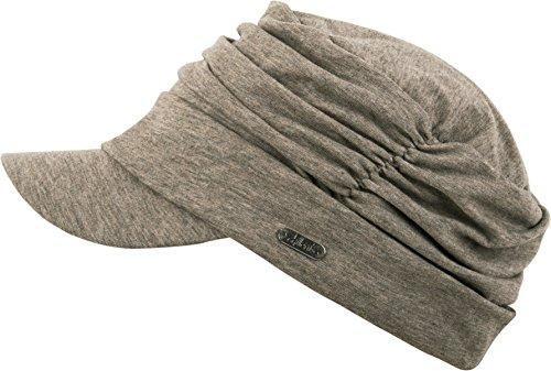 Feinzwirn Schirmmütze Marrakesh für die modebewusste Frau, Balloncap im Kopftuch-Look (beige-Brown-Melange)