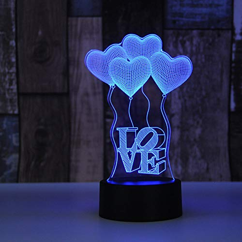 Visual bulb optical illusion colourful LED table lamp touch romantic holiday night light Baymax love heart wedding gifts