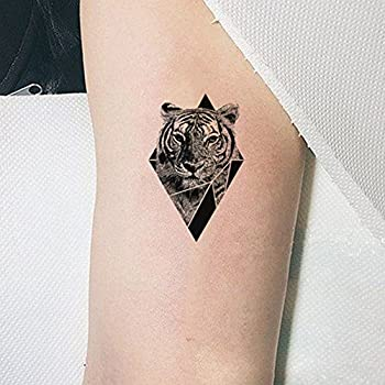 TAFLY Temporary Tattoo Tiger Triangle Body Art Arm Stickers Waterproof Fake Tattoos 5 Sheets