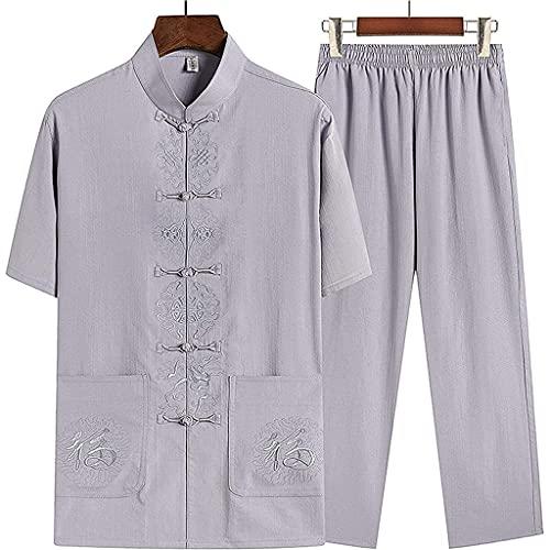 Traje de artes marciales sueltas unisex Ropa tradicional china Camisa de Kung Fu Uniforme Traje Tang Hombres Hanfu Abrigo de manga corta Tops y pantalones (XL,F)