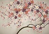 wandmotiv24 Fototapete Baum Blumen Blüte M 250 x 175 cm - 5 Teile Fototapeten, Wandbild, Motivtapeten, Vlies-Tapeten Blütenzweig, Ranke M1310