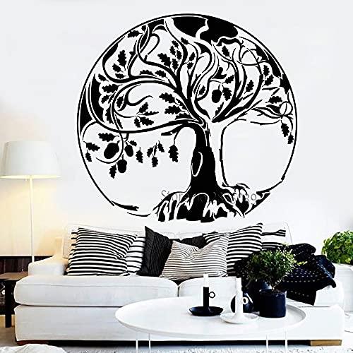 Boezhl Calcomanía Abstracta de árbol Grande, Pegatina de árbol de la Vida de Roble, Pegatina de Bellota, calcomanía de Vinilo para Pared para decoración del hogar, Mural artístico, 66x63cm