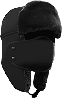 Winter Hat with Ear Flaps, Trooper Trapper Hat, Detachable Face Mask, Windproof Waterproof and Breathable, Faux Fur Ushanka Hunting Hat, Snow Hat, Free Neck Gaiter Included