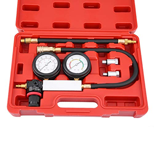 Pressure loss tester car, cylinder pressure engine tester with 12 and 14mm spark plugs, compression tester double measuring system with tool box, check for leaks valves TU-21