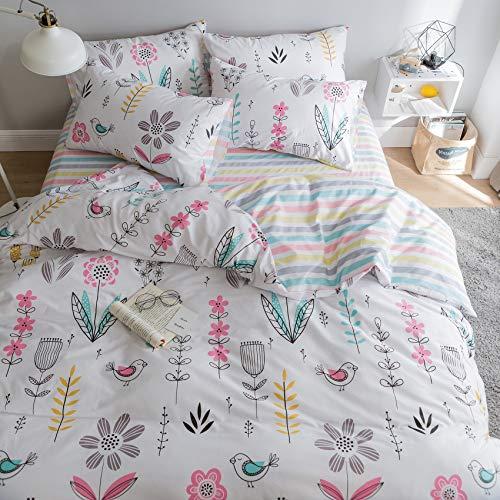 BuLuTu Floral Bird Print Pattern Girls Duvet Cover Twin White Premium Cotton Nature Blossom Colorful...