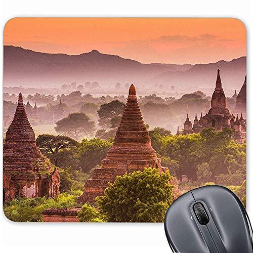 Bagan Myanmar Mauspad mit Rutschfester Gummiunterseite, für Computer/Notebook/Mac 19,1 x 23,4 cm