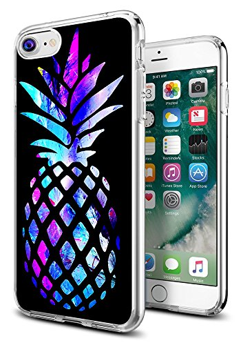 Pineapple Case for iPhone 8/for iPhone 7,Gifun Anti-Slide Clear Soft TPU Premium Flexible Protective Case for iPhone 8/for iPhone 7 - Brightly Colored Marble Pineapple