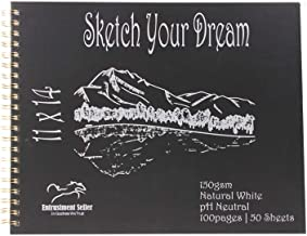 """Entrustment Sketch Book, 150gsm,11"""" X 14"""", pH Neutral, Natural White, Premium Sketch Book with Spiral Bind, Excellent for ..."""