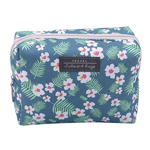 SEVENHOPE Portable Mini Sac à Main Voyage Wash Sac Toiletry Sweet Floral Sac Cosmétique Organisateur Pochette De Maquillage (Bleu)