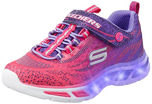 Skechers Girls' S Lights: Litebeams Low-Top Sneakers, Pink (hppr), 2 UK 35 EU